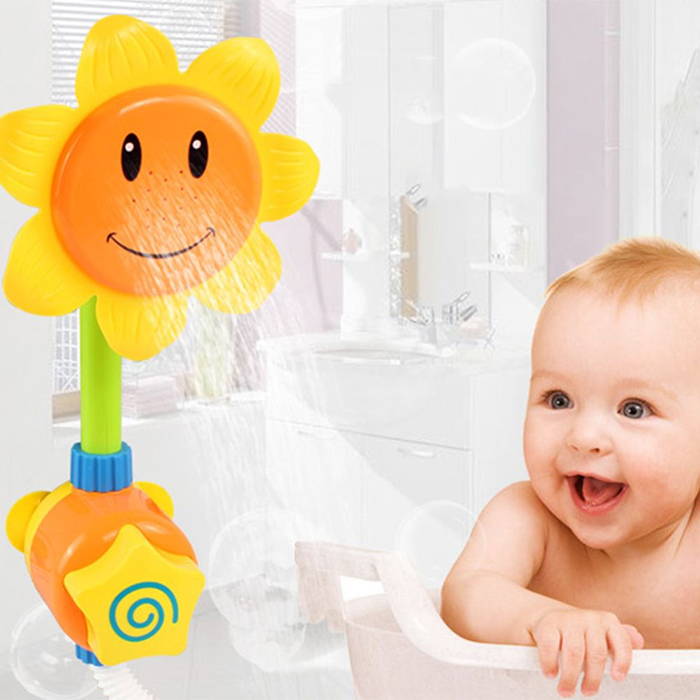 3pcs lot children 39 s cartoon sunflower shower faucet bath gift bathroom bathtub baby toys. Black Bedroom Furniture Sets. Home Design Ideas